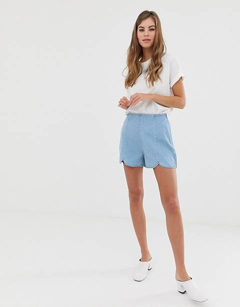 ASOS DESIGN denim culotte short in pretty blue