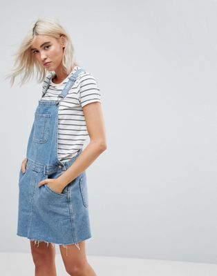 ASOS DESIGN denim dungaree dress in midwash blue