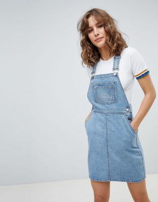 ASOS DESIGN denim dungaree dress in vintage blue
