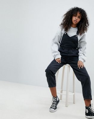 ASOS DESIGN denim dungaree with pleat detail in washed black