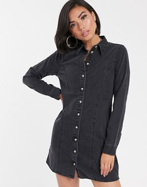 ASOS DESIGN denim fitted western shirt dress in washed black 221cafa3e9eb