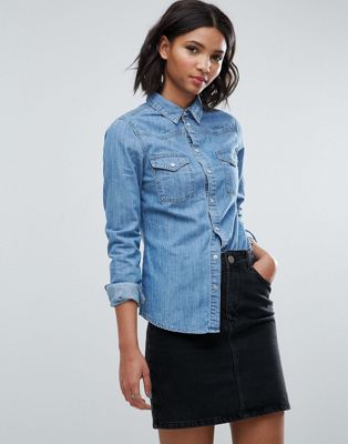 ASOS DESIGN denim fitted western shirt in midwash blue