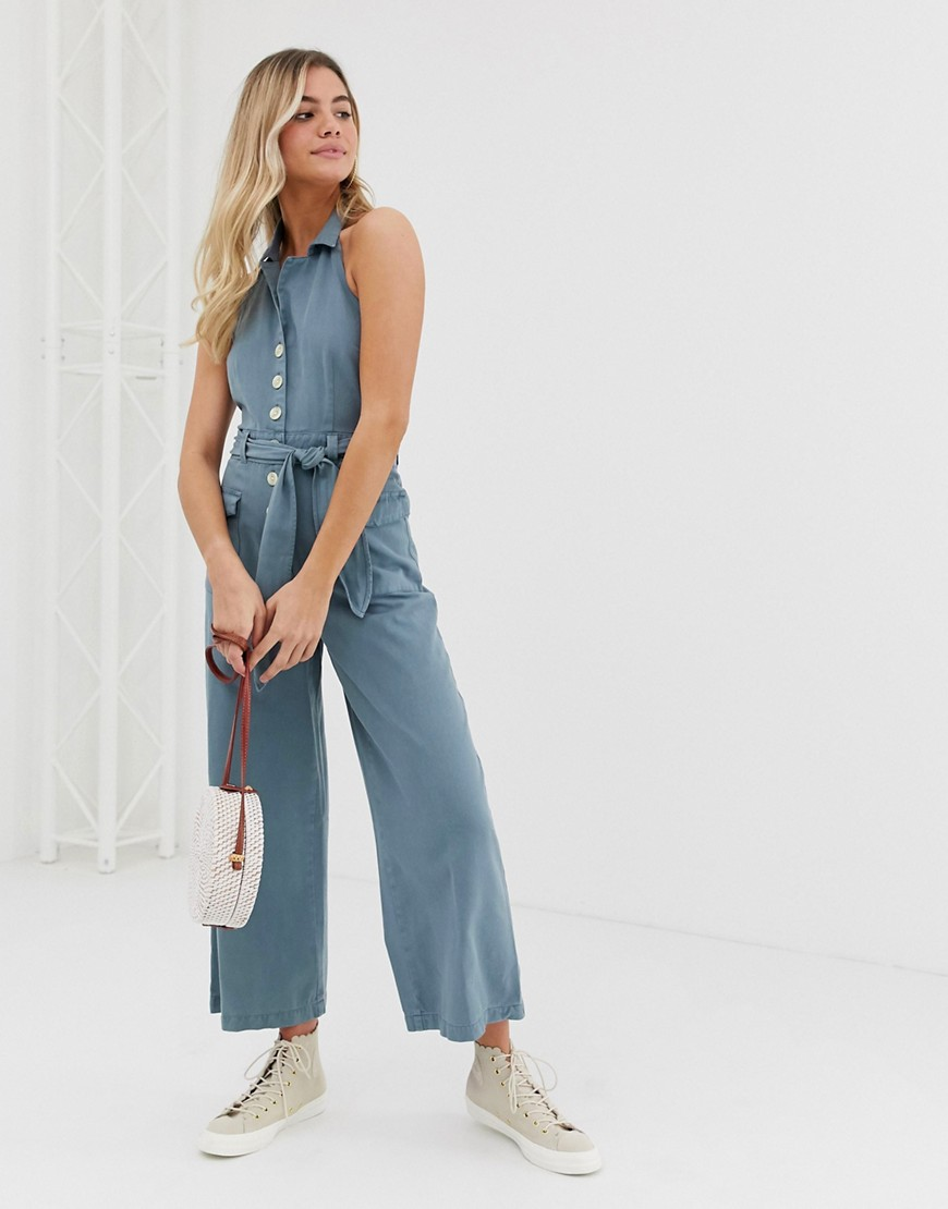 Asos Design Denim Halterneck Blazer Jumpsuit With Belt In Washed Blue by Asos Design