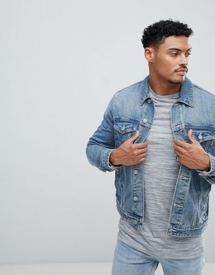 ASOS DESIGN denim jacket in mid blue wash