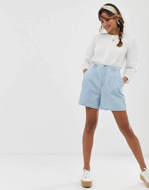 ASOS DESIGN denim longline culotte short in lightwash blue