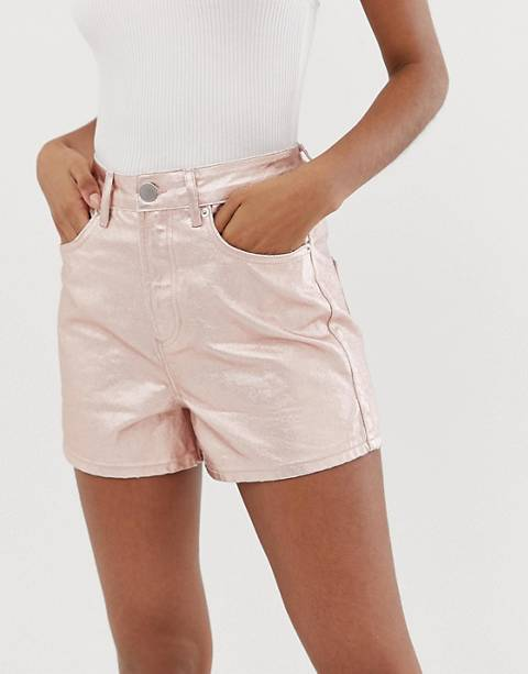 ASOS DESIGN denim metallic a line mom shorts