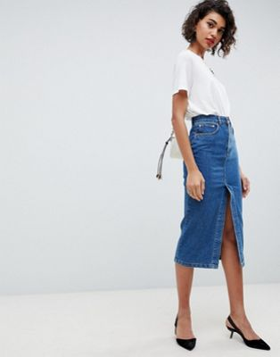 ASOS DESIGN denim midi skirt with split front in midwash blue