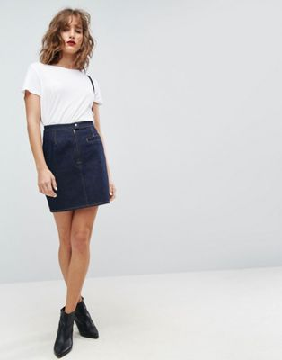 ASOS DESIGN denim mini skirt in indigo with tobacco threads