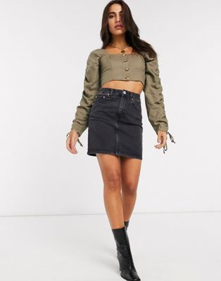 ASOS DESIGN denim original high waisted skirt in washed black