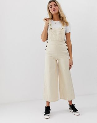 ASOS DESIGN denim overall with wideleg in stone