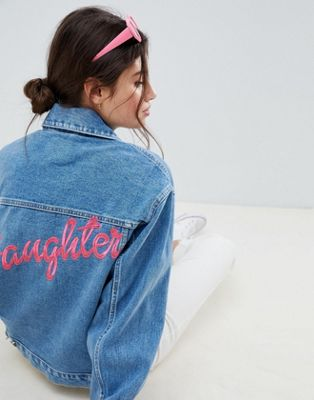 ASOS DESIGN denim oversize 'daughter' jacket in midwash blue