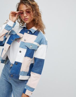 ASOS DESIGN denim patchwork jacket