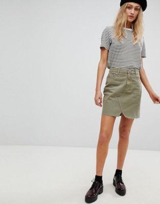 ASOS DESIGN denim pelmet skirt in khaki