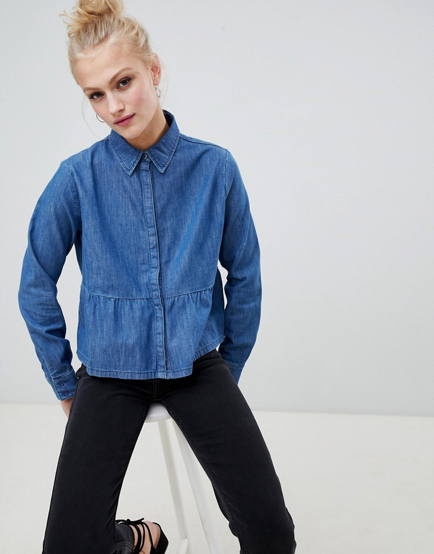 Asos Design Denim Shirt With Ruffle Hem In Midwash Blue by Asos Design