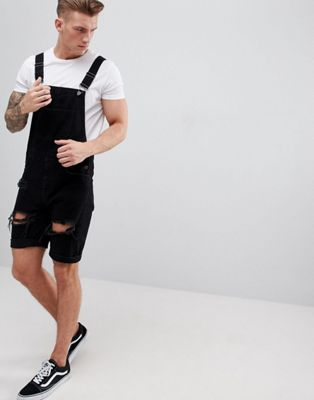 ASOS DESIGN Denim Short Overalls In Black With Heavy Rips