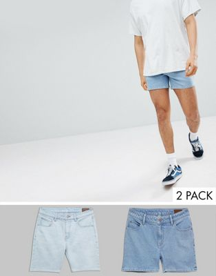 ASOS DESIGN Denim Shorts In Skinny Light Wash And Shorter Length Mid Wash Blue