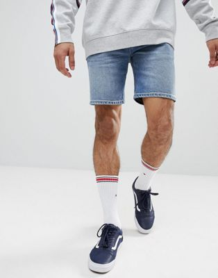 ASOS DESIGN denim shorts in skinny mid wash