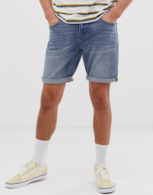 ASOS DESIGN denim shorts in slim mid wash
