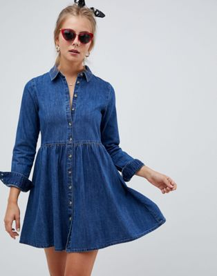 ASOS DESIGN denim smock shirt dress in midwash blue