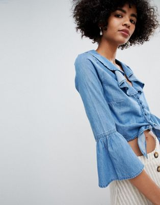 ASOS DESIGN denim tie front top with ruffle detail