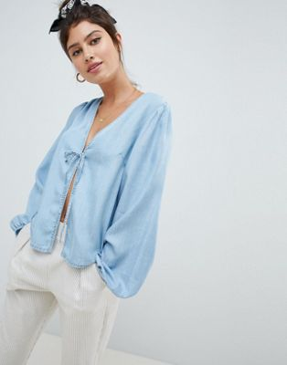ASOS DESIGN denim tie front top