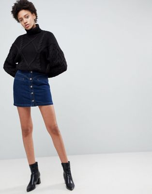 ASOS DESIGN denim western skirt in darkwash blue