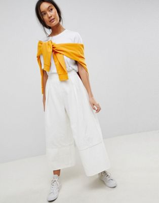 ASOS DESIGN denim wide leg culottes in off white