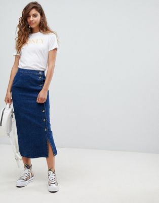 ASOS DESIGN denim wrap midi skirt with tortoiseshell buttons