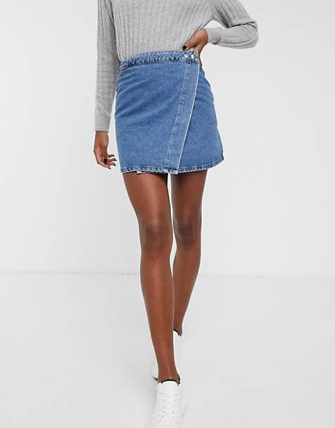 ASOS DESIGN denim wrap skirt in midwash blue
