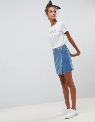 ASOS DESIGN denim wrap skirt in stonewash blue