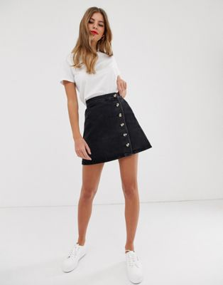 ASOS DESIGN denim wrap skirt with buttons in recycled washed black