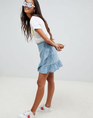 ASOS DESIGN denim wrap skirt with frill in tencel