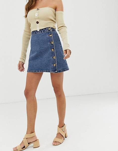 ASOS DESIGN denim wrap skirt with side buttons in blue