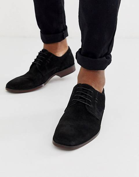ASOS DESIGN derby shoes in black suede with natural sole
