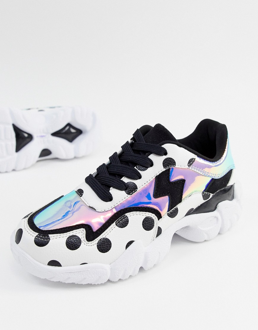 Sneakers by ASOS DESIGN Some days call for a little extra Lace-up fastening Padded for comfort Dot detail Metallic panel Chunky sole Moulded tread