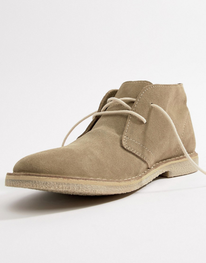 Asos Design Desert Boots In Stone Suede by Asos Design