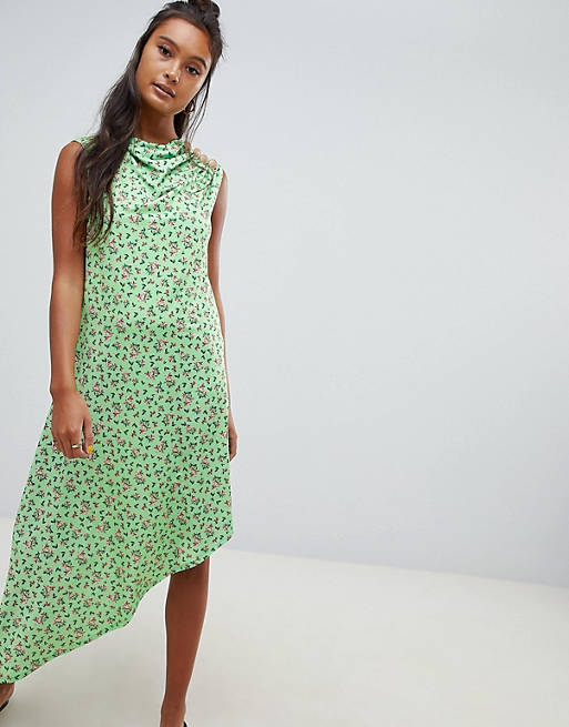 ASOS DESIGN ditsy print midi dress with button detail