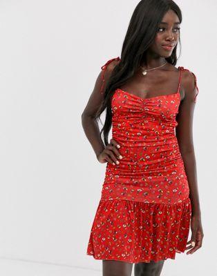 ASOS DESIGN ditsy print pephem mini dress