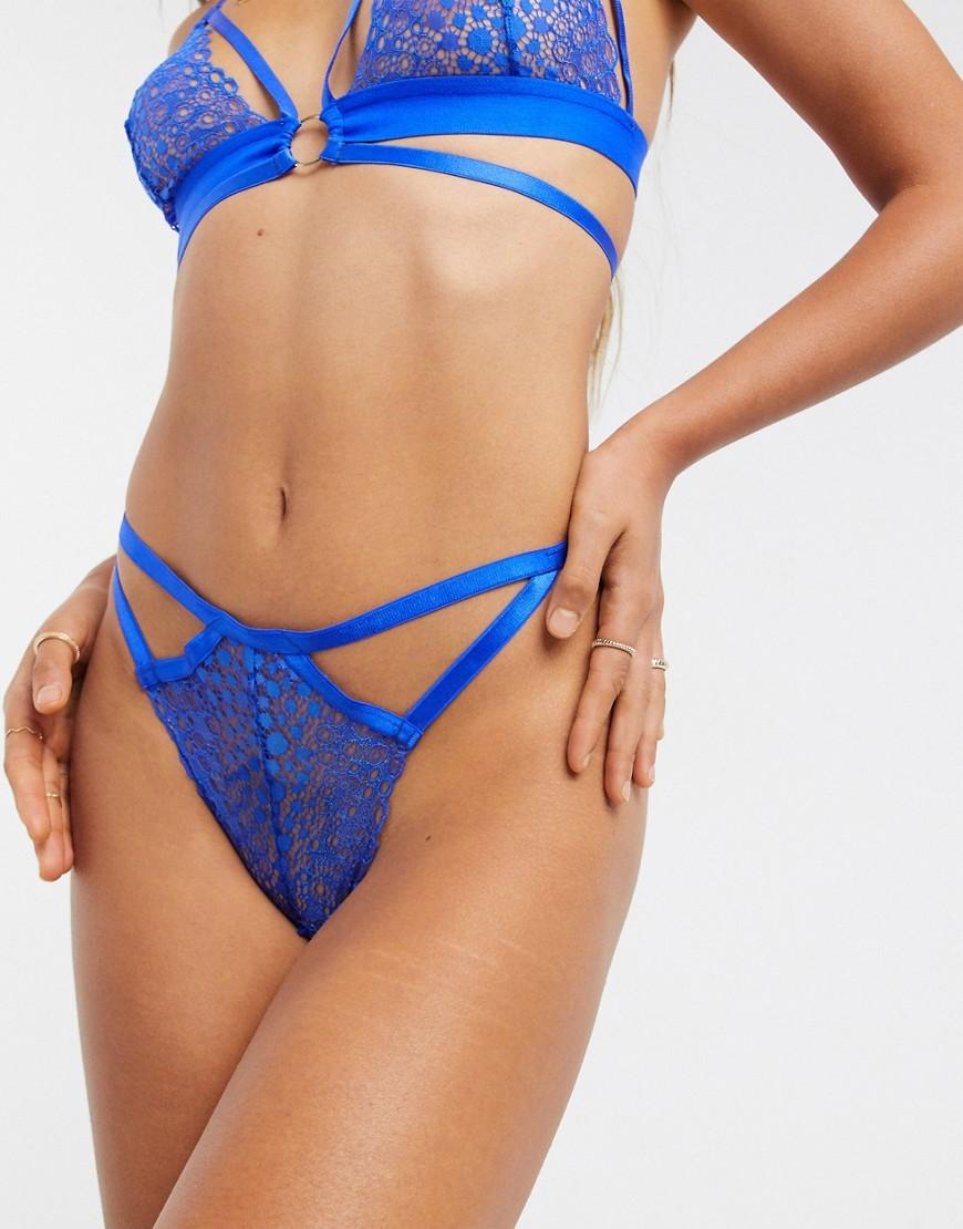 ASOS DESIGN - Dolly geo blonde g-streng med stropper i cobalt-Blå
