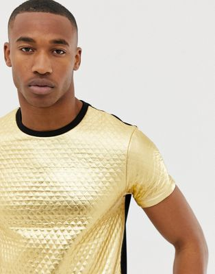 ASOS DESIGN - Doorgestikt T-shirt in goud metallic