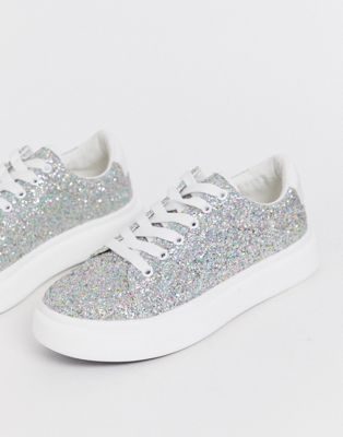 ASOS DESIGN Doro chunky lace up sneakers in glitter