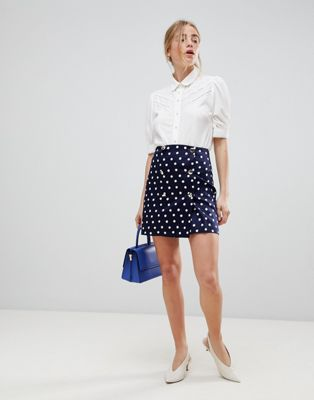 ASOS DESIGN double breasted mini skirt in spot