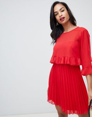 ASOS DESIGN double layer pleated mini dress