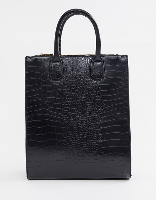 Image 1 of ASOS DESIGN double zip compartment croc tote bag with laptop compartment