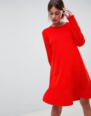 ASOS DESIGN Dress In Fine Knit With Ruffle Hem