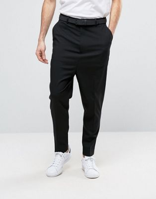 ASOS DESIGN drop crotch pant in black