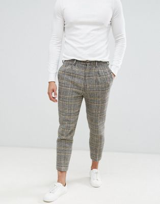 ASOS DESIGN drop crotch tapered smart pant in 100% wool Harris Tweed