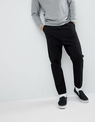 ASOS DESIGN Drop Crotch Woven Joggers In Black