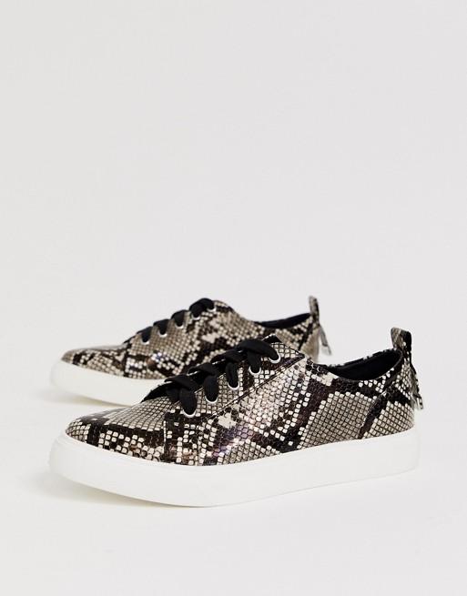 DESIGN Durban ormskinnsmönstrade skor med spetsig tå och snörning