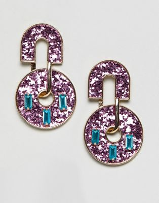 ASOS DESIGN earrings in geo design with glitter and jewels
